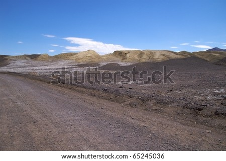 Track along Devil's Golf Course, Death Valley National Park - stock photo