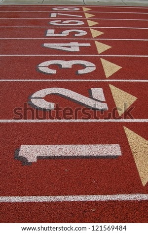 Track and Field Lanes - stock photo