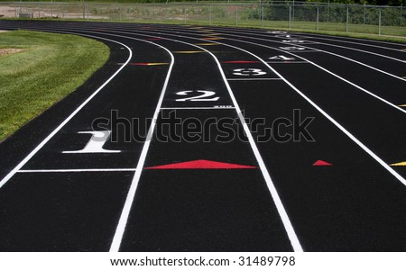 Track and field lanes.