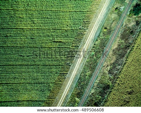 track and parallel railway in green country field, aerial photo, top view