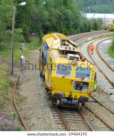 Track construction train - stock photo