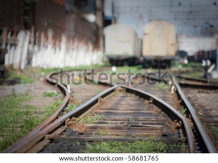 track development of the railway station in disrepai - stock photo