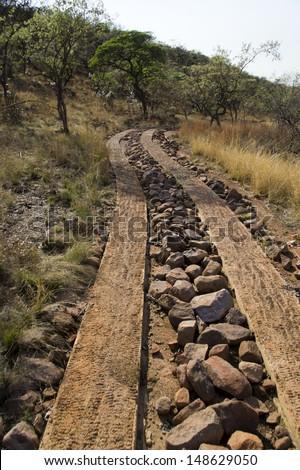 Track in African safari park - stock photo