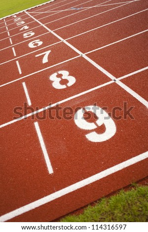 track number, track numbers on red rubber racetracks