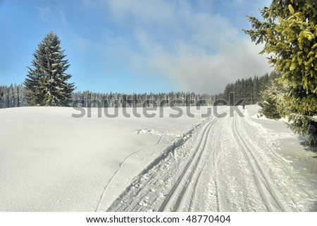 track of cross-country ski in winter country - stock photo