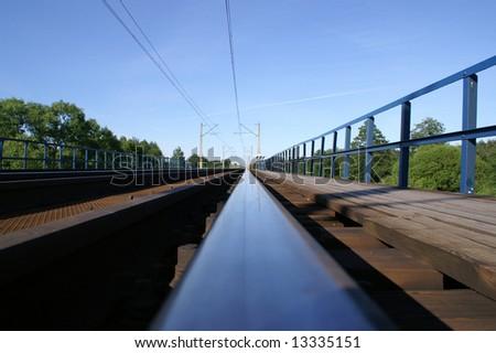 Track rails - Poland, Warsaw-Wyszkow - stock photo