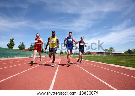Track runners - stock photo