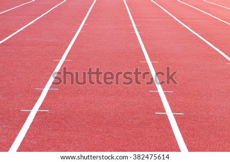 track running, Red treadmill in sport field. soft focus