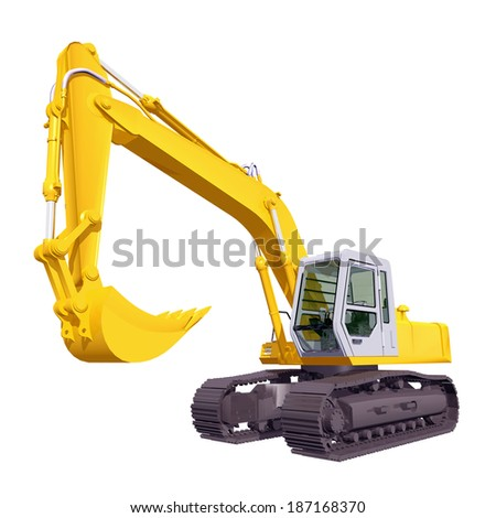Tracked Excavator isolated on white background Computer generated 3D illustration