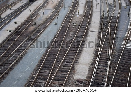 tracks at a switch yard - stock photo