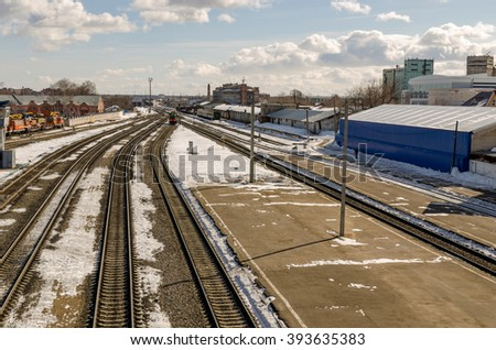 Tracks in the clear spring morning in Russia