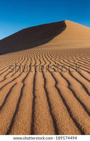 Tracks of Wind on a sand dune, Sossusvlei, Namibia - stock photo