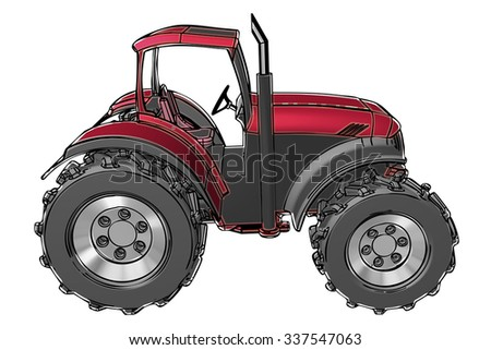 tractor illustration with irregular black lines and and color gray and red on white background. the tractor is in side perspective view. this is a tractor cab of average size for works in the fields