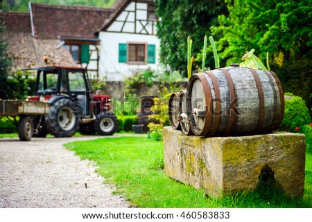 Tractor in agricultural farm, Alsace, France