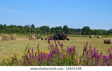 tractor in field with hay - stock photo