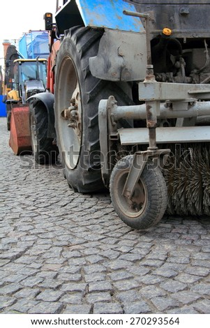 tractor, parts accessories for cleaning streets
