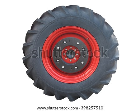 Tractor red tire wheel isolated over white background - stock photo