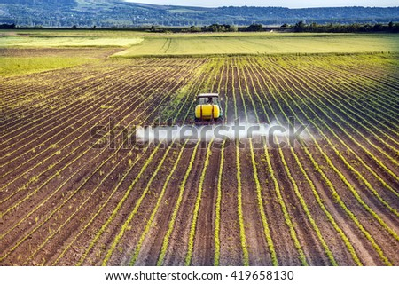 Tractor spraying a field of corn - stock photo