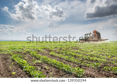 Tractor spraying soy in the spring - stock photo