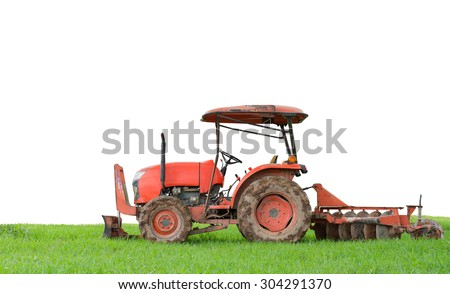 tractor tilling in field isolated on white background - stock photo