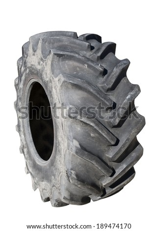 Tractor tire on white background  - stock photo