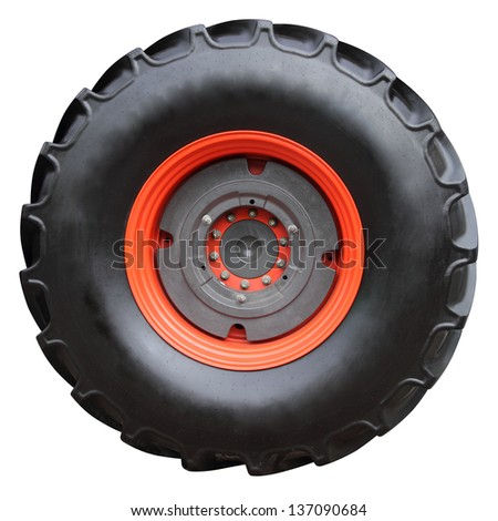 Tractor tire on white background ( isolated with paths) - stock photo