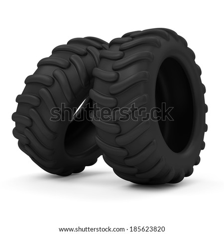 Tractor Tires isolated on white background - stock photo