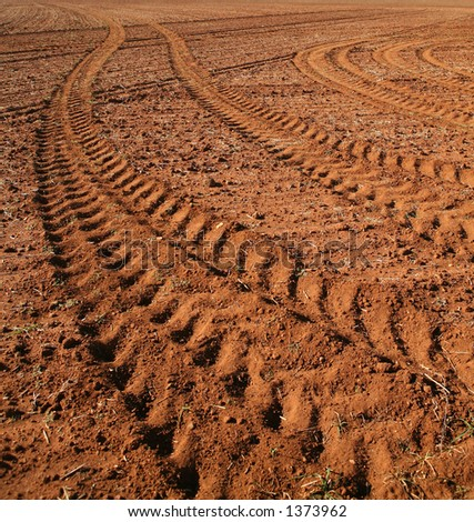 Tractor Tracks, Australia - stock photo