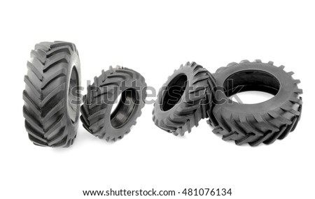 Tractor wheels  isolated on white background