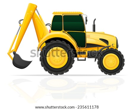 tractor with a bucket behind illustration isolated on white background - stock photo