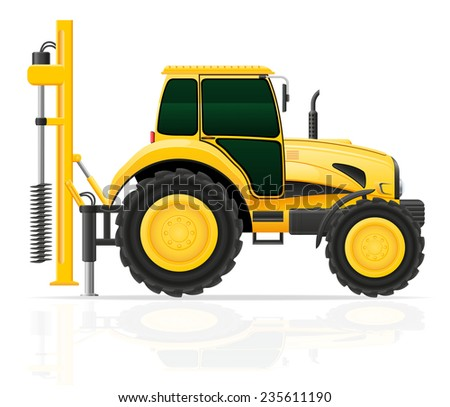 tractor with a drilling rig illustration isolated on white background - stock photo