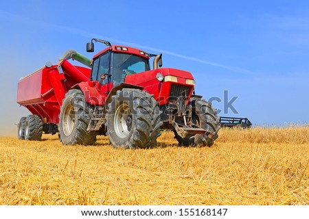 Tractor with a tank for transporting grain