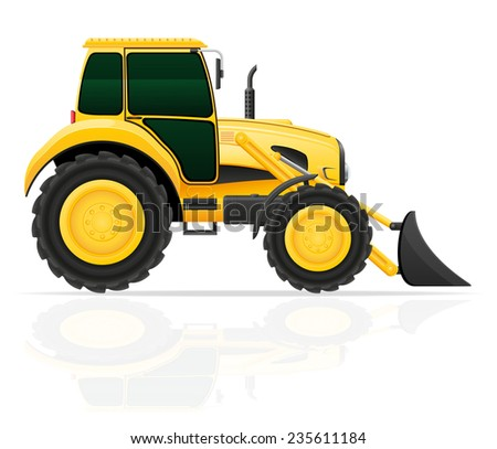 tractor with bucket front seats illustration isolated on white background - stock photo