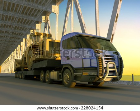 Tractor with excavator on the bridge.