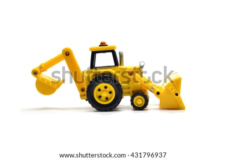 Tractor with front loader & Backhoe diger toy isolated on white bacground . Tractor backhoe plastic toy . Toy car children play creative development, creative thinking toy car.
