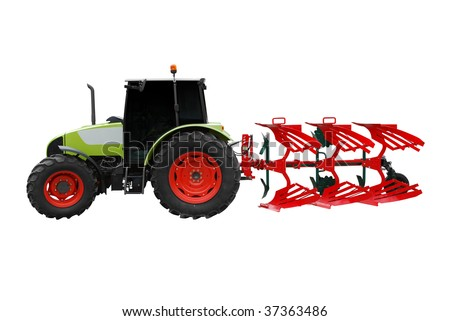 tractor with plow isolated