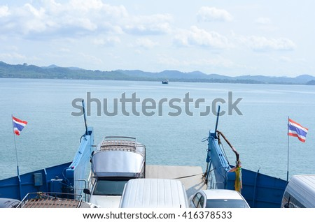 Trad - cars loaded on a ferry and headed for the island on May 5, 2016 , Koh Chang , Trat, Koh Chang is the second largest in the country.
