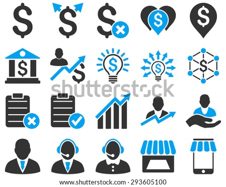Trade business and bank service icon set. These flat bicolor icons use blue and gray colors. Images are isolated on a white background. Angles are rounded. - stock photo