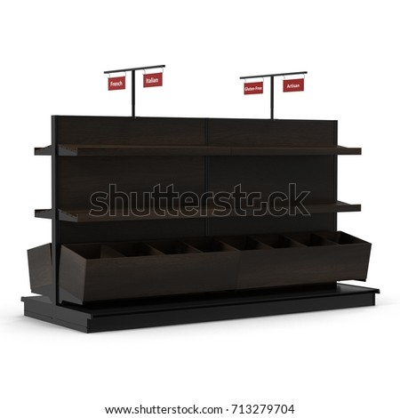 Trade equipment for the sale of bread. On white. 3D illustration