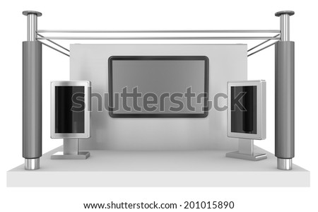 trade exhibition booth or stall from front view. 3d render - stock photo