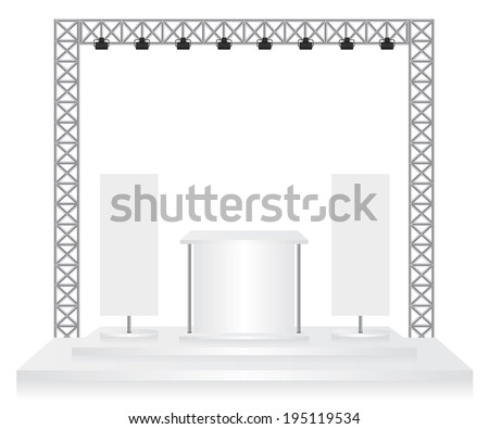 Trade exhibition stand and flags on white background - stock photo