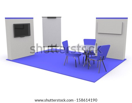 Trade exhibition stand blue and blank roll banner and television 3d render isolated - Template for designers