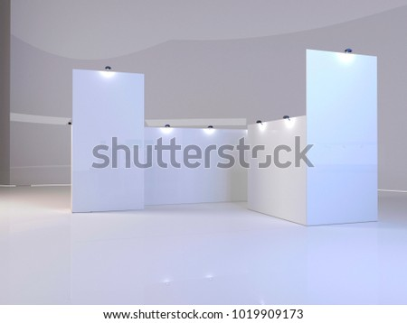 Trade exhibition stand, Exhibition round, 3D rendering visualization of exhibition equipment, Advertising space on a white background, with space for text ads,