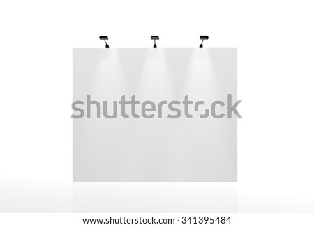 Trade exhibition stand, Exhibition round, 3D rendering visualization of exhibition equipment, Advertising space on a white background, with space for text ads - stock photo
