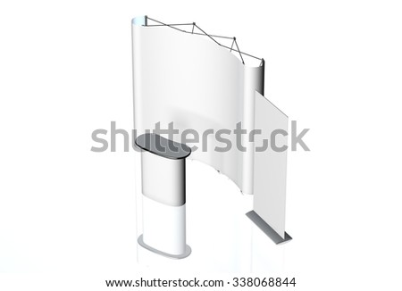 Trade exhibition stand, Exhibition Stand round, 3D rendering visualization of exhibition equipment, a set of stands, Advertising space on a white background, with space for text ads