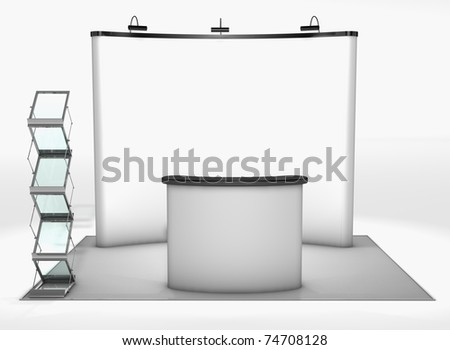 Trade exhibition stand Trade exhibition stand with screen, counter and brochure rack - stock photo