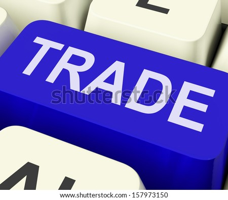 Trade Key Showing Online Buying And Selling - stock photo
