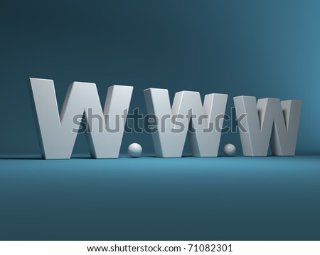 Trade mark of a world wide web 3D - stock photo