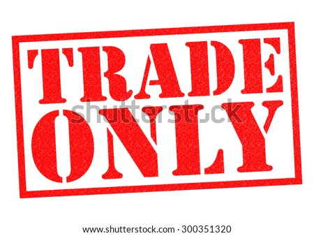 TRADE ONLY red Rubber Stamp over a white background.