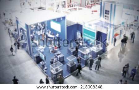 Trade show, blue background. - stock photo